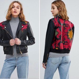 Free People Moto Jacket Embroidered Tribal XS NEW